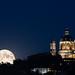 Blue moon at blue hour under Superga by bluestardrop - Andrea Mucelli