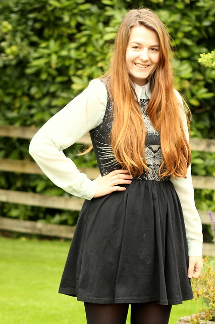 OOTD, outfit of the day, uk style blog, blouse, cat face dress, tights, sneaker wedges