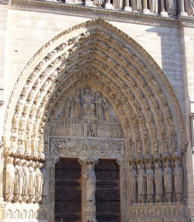 notre dame door in center