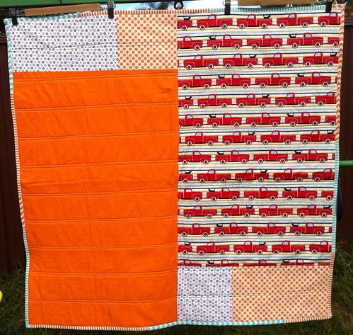 Fly the Flag Quilt - Orange version back