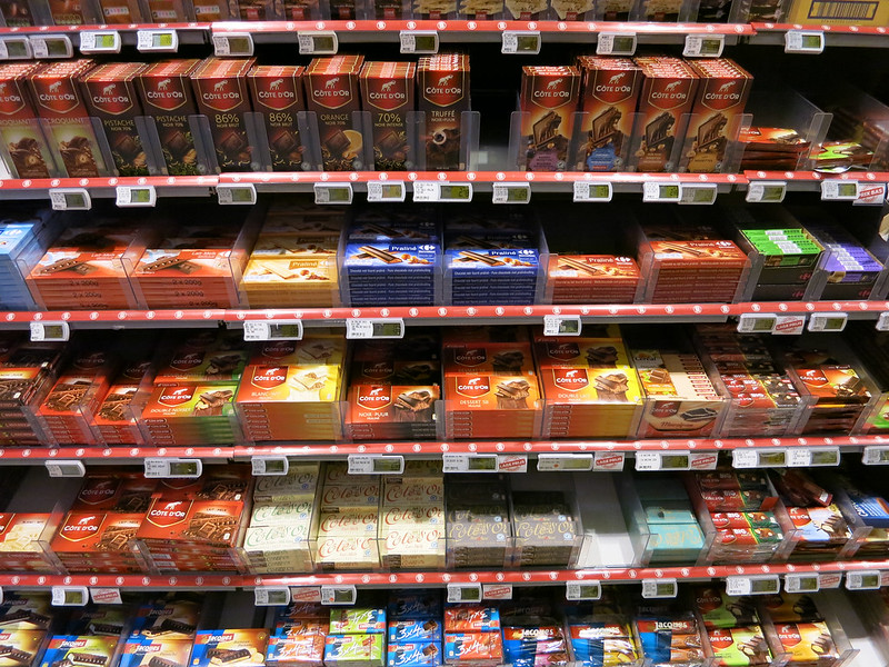 The chocolate aisle in a Belgian supermarket.