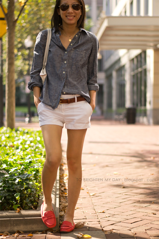 chambray shirt, white shorts, red loafers