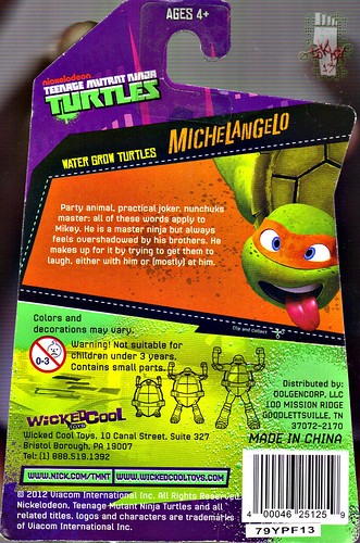 WICKED COOL TOYS :: Nickelodeon TEENAGE MUTANT NINJA TURTLES; 'WATER GROW TURTLES' - MICHELANGELO iv // ..card backer (( 2013 ))