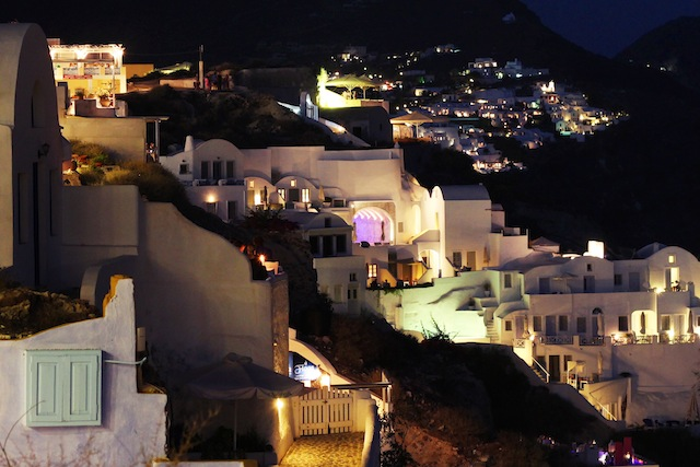 Oia cliffside at night