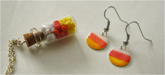 diy candy corn jewellery 1