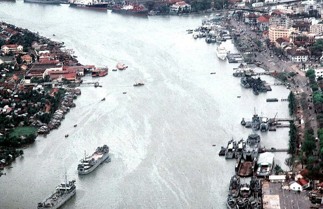 1967 Saigon River from the air - hospital ship upper right