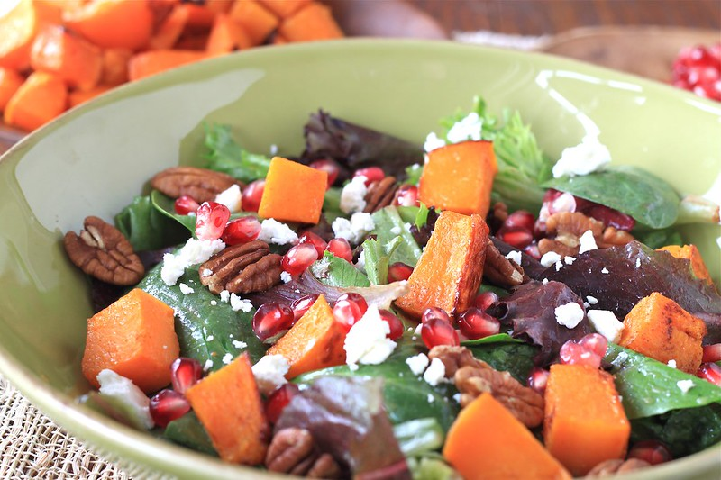 autumn salad with maple roasted butternut squash