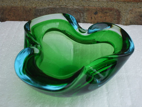 Murano Sommerso 1960's 70's Heavy Cased Glass Geode Bowl Blue / Green Colours Car Boot Sale Find Summer 2013