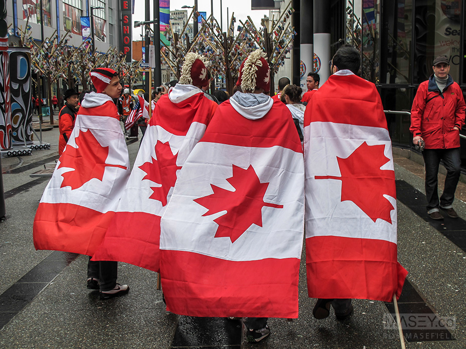 A quartet of flag-clad Team Canada warriors.