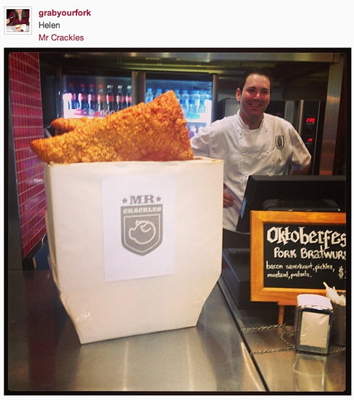 The world's biggest box of pork crackling at Mr Crackles, Darlinghurst