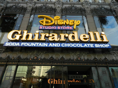 Disney store/Ghirardelli Chocolate shop signs in Hollywood, CA.