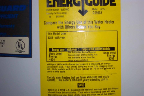 Image of an EnergyStar label on a water heater