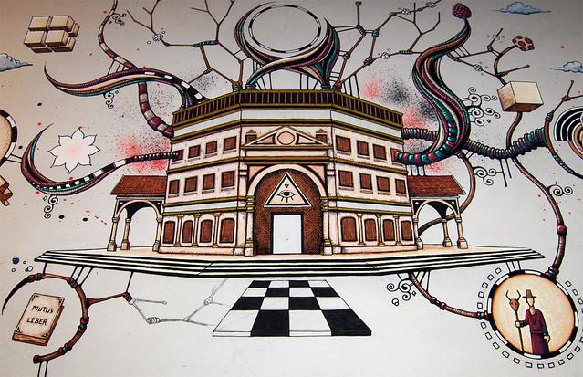 Le sanctuaire - Feutres Posca sur papier - étape 3 - 2 décembre 2013