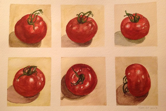 Tomatoes, watercolor by Eleonor Bindman, 2013. BBG class: Watercolor for Absolute Beginners.