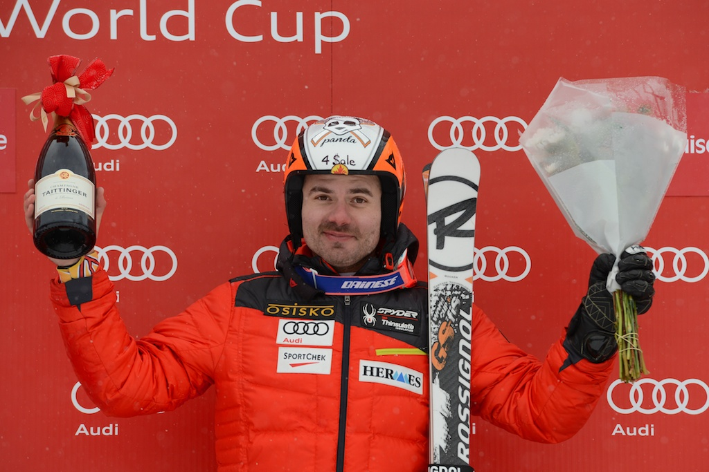 Jan Hudec celebrates a 10th place finish and the title of top Canadian at the FIS Alpine World Cup in Lake Louise, CAN