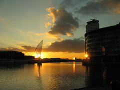 A view of the Media City Footbridge in the sunset...