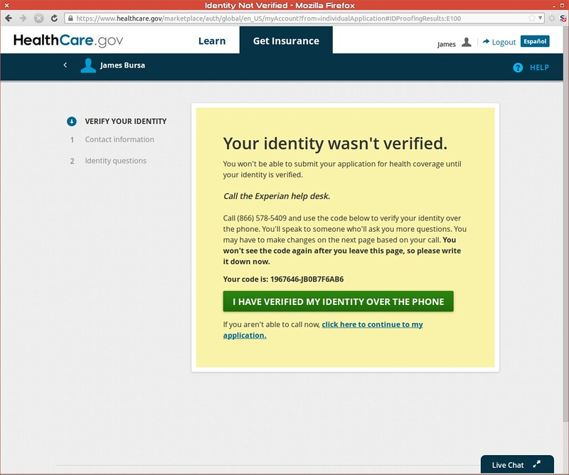 Identity wasn't verified, call Experian