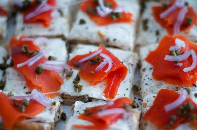 smoked salmon puff pastry tart