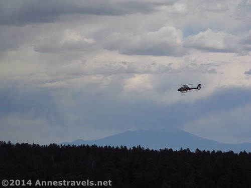 A sightseeing helicopter flies toward the Grand Canyon from the Grandview Lookout Tower, Kaibab National Forest, Grand Canyon National Park, Arizona