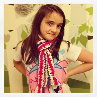 Modelling the scarf she made all in one day #crochetaddict