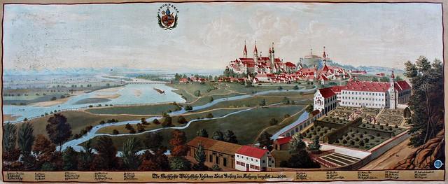 Valentin Gappnigg - Gemälde aus einer Serie mit Darstellungen von Besitztümern des Hochstifts Freising im Fürstengang zwischen Fürstbischöflicher Residenz und Freisinger Dom.