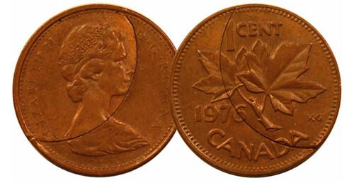 1976 Canada cent clip error