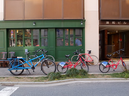 bikes parked front of restaurant by owenfinn16