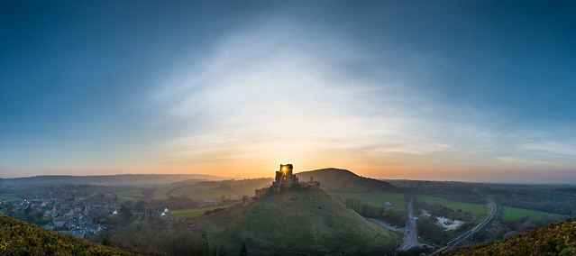Sunset over Corfe Castle