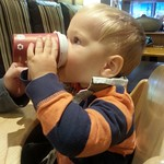 George enjoying a hot chocolate at Costa's