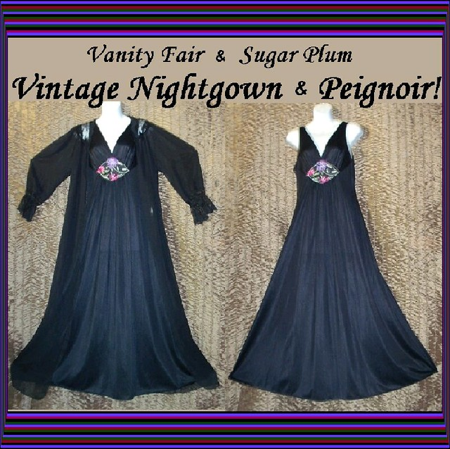 Black Vanity Fair Nightgown Peignoir Embroidered Floral Garden Sz Small!