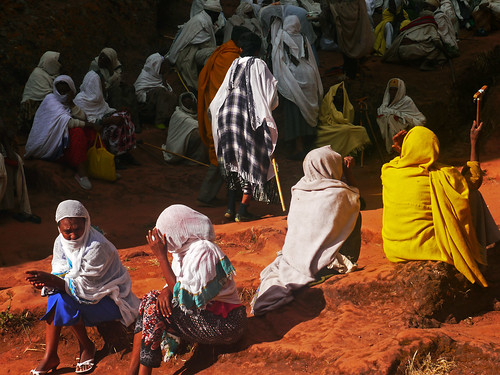 Orthodox Pilgrims at Rock Church, Lalibela