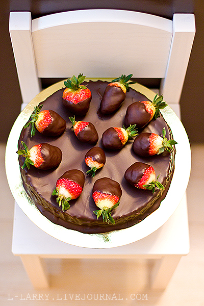 Absolutely chocolate cake by Pierre Hermes decorated with strawberries