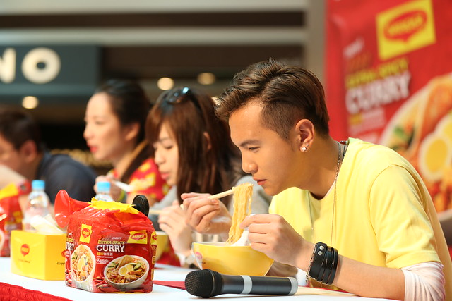 Ian Fang enjoying his noodles