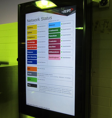 "Bentleigh station: ""Rainbow"" network status board"