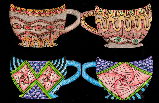 Zendoodle tea cup collaborative art project by Cindy Angiel