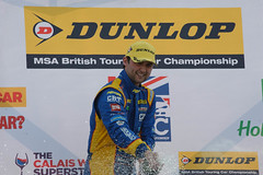 BTCC-Andy Jordan-Champagne shower at Brands Hatch 2014.