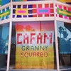 #grannysquared  at #cafam #yarnbombingLA by anne m bray