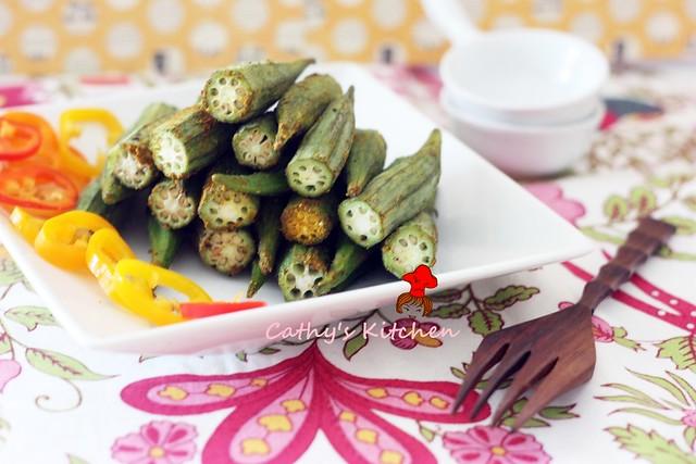 輕食的美味 - 咖哩烤秋葵 Baked Okra 3