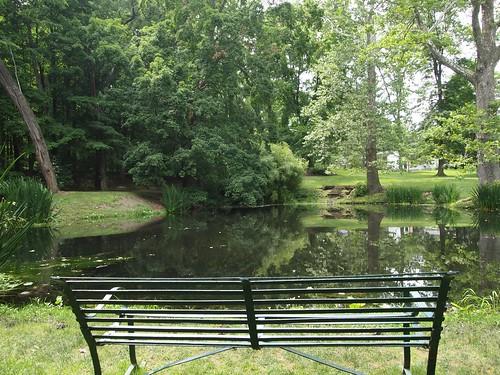 Schoepfle Garden - Birmingham, Ohio - Pond bench