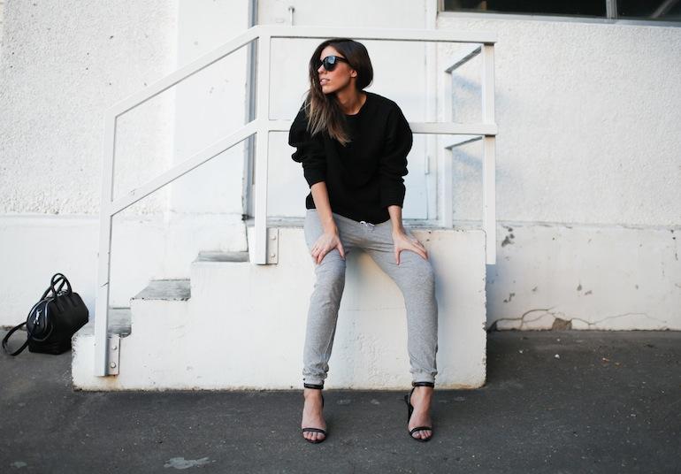 Modern Legacy fashion blog Australia Nicholas sweatshirt Bassike track pants Alexander Wang Jamie Chain Tote Bag Black Antonia heels Celine Audrey sunglasses (4 of 9)