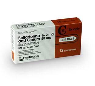 opium belladonna suppositories 60mg/16.2mg
