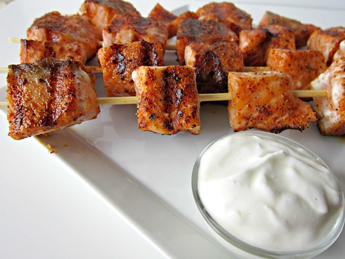 Sweet Beginnings: Blackened Salmon Kabobs with Yogurt Sauce