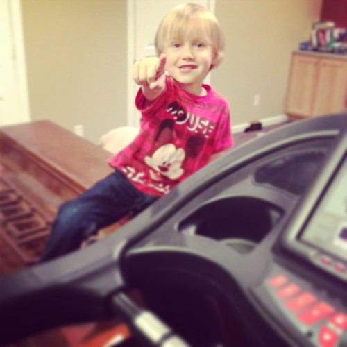"""apparently this treadmill also came with a bossy personal trainer. """"Mommy go faster, daddy goes faster!"""""""