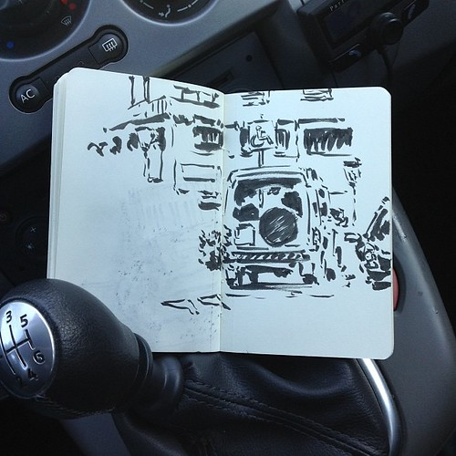 Sketching while waiting in the car by josu maroto