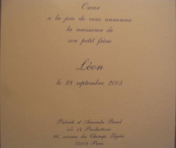 Kennisgeving geboorte Léon aan leden 14leclub