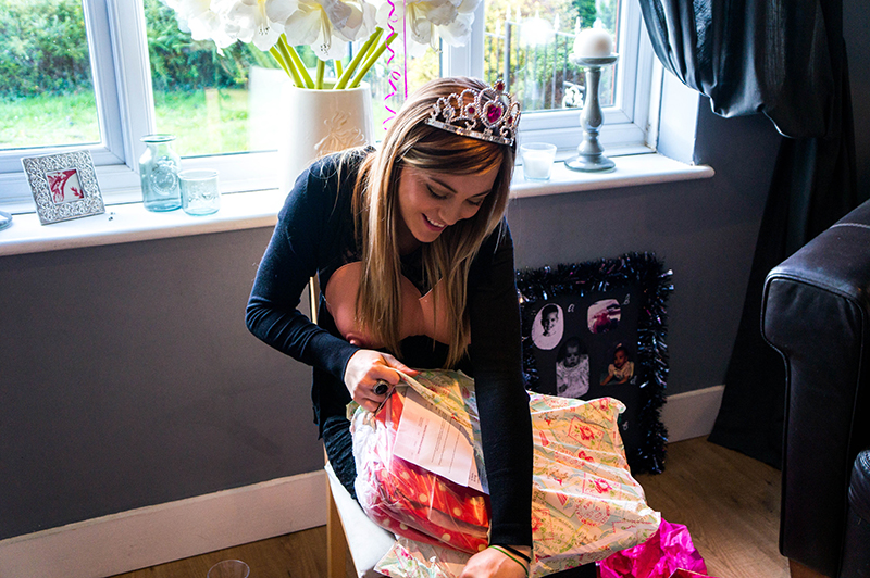 Little Sister's Baby Shower - Polly opening a Nappy Bag | www.latenightnonsense.com