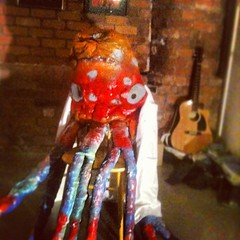 Doctorpus in his lab coat chilling before #downthehatch #number2 @hoaxliverpool #comedy #puppet