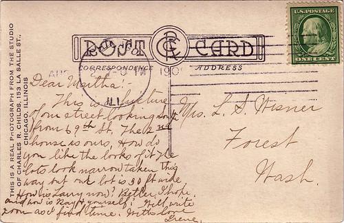 Aug 1909 Irene (Wisner) Anderson to Martha (Morey) Wisner