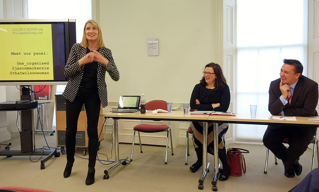 CIPR education & skills networking workshop, w/ @JasonMacKenzie Jason MacKenzie MD Liquid PR, Sarah Pinch, CIPR President-elect (2015) @ms_organised, Jane Wilson, CEO CIPR (2010-13) @thatwilsonwoman panel laughing from RAW _DSC5253
