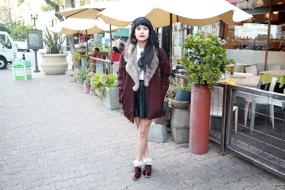 Motel Rocks coat, pleather pleated skirt, oxblood oxfords, monacle speaker